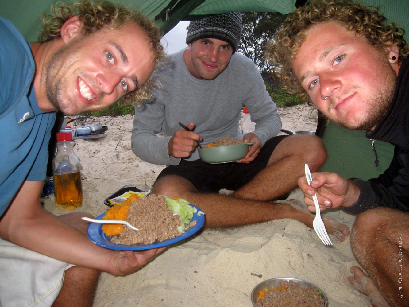 Michael, Pete and Seb, Dinner on the beach