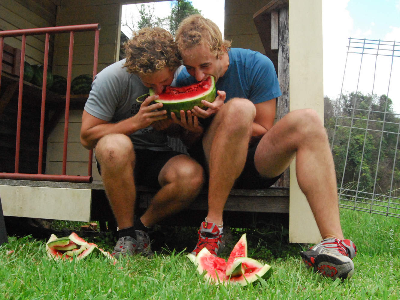 Watermelon Feast at the end of a long bike ride