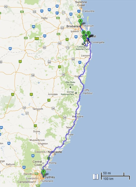 Bike Tour - Australia Brisbane to Sydney route map
