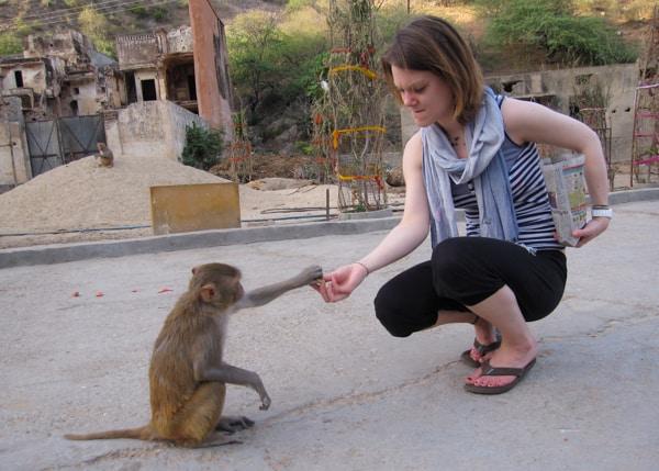 Dora feeding the monkeys