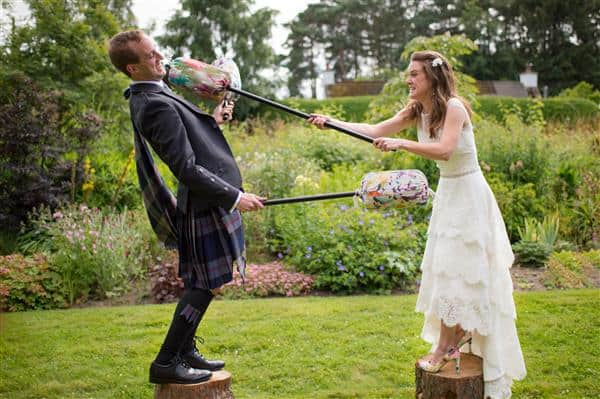 Bride and groom battle at the wedding