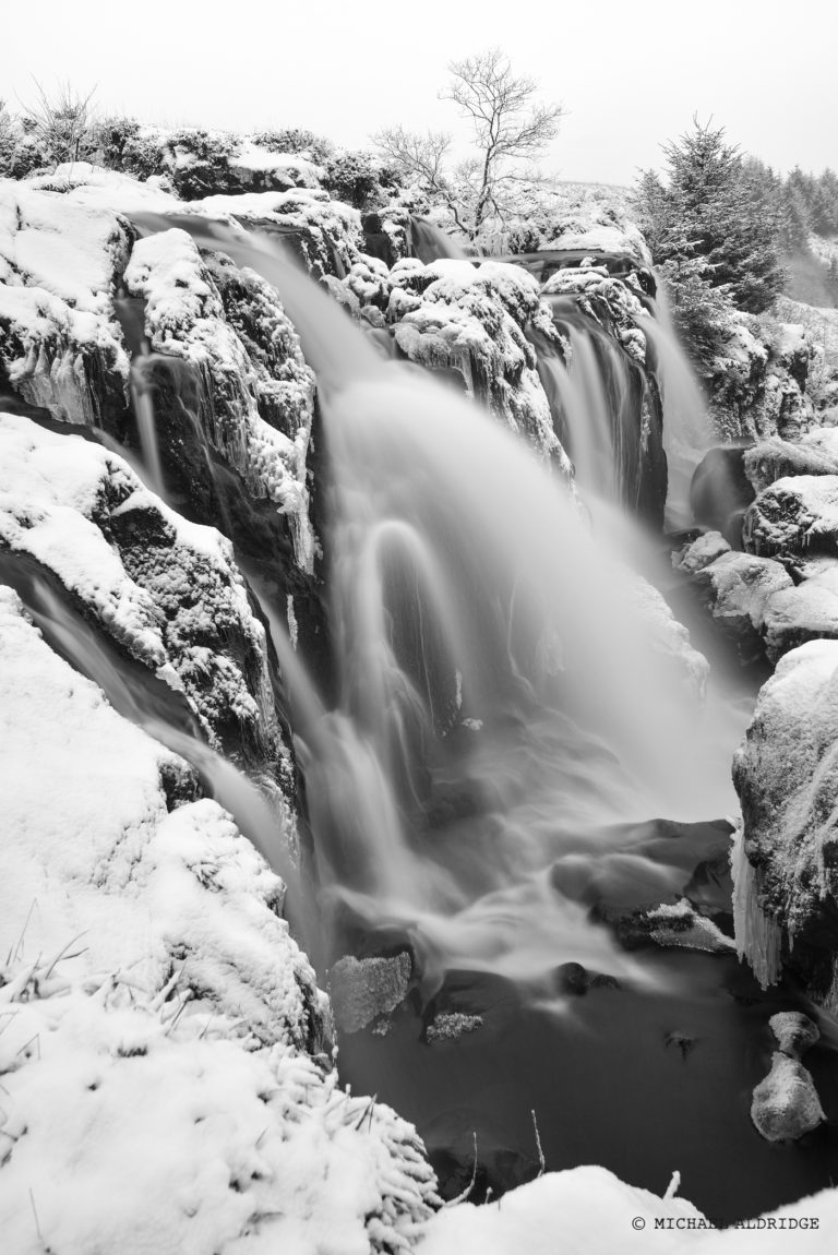 Long Exposure of Falls of Fintry in Scottish Winter