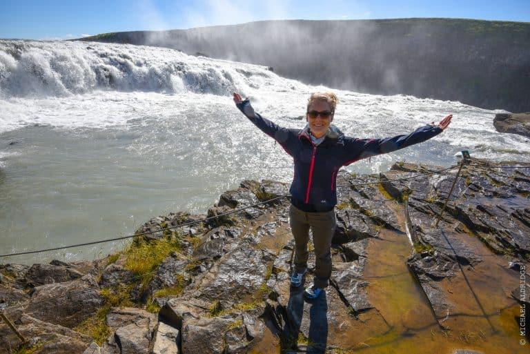 Dora at Gullfoss Waterfall, Iceland