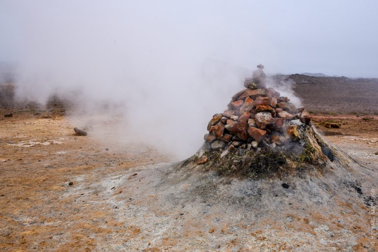 Steam vent in Námafjall Hverir geothermal area, Iceland