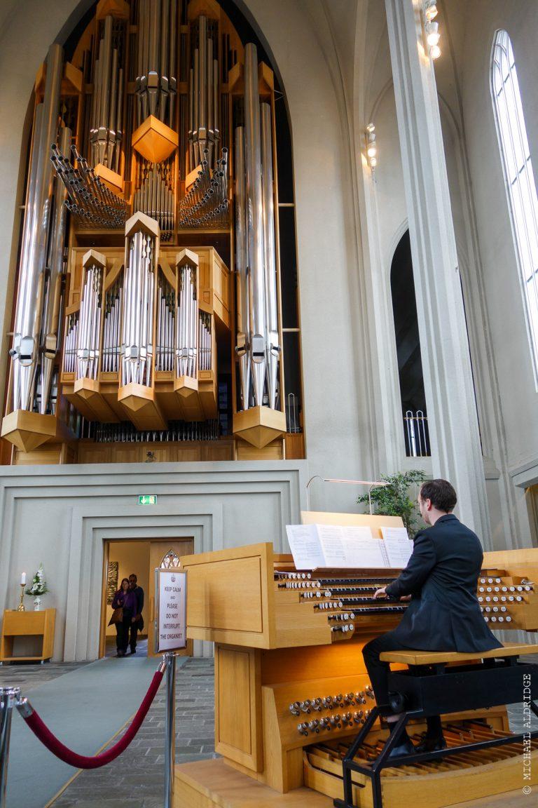 Organ Player Hallgrímskirkja, Reykjavik, Iceland