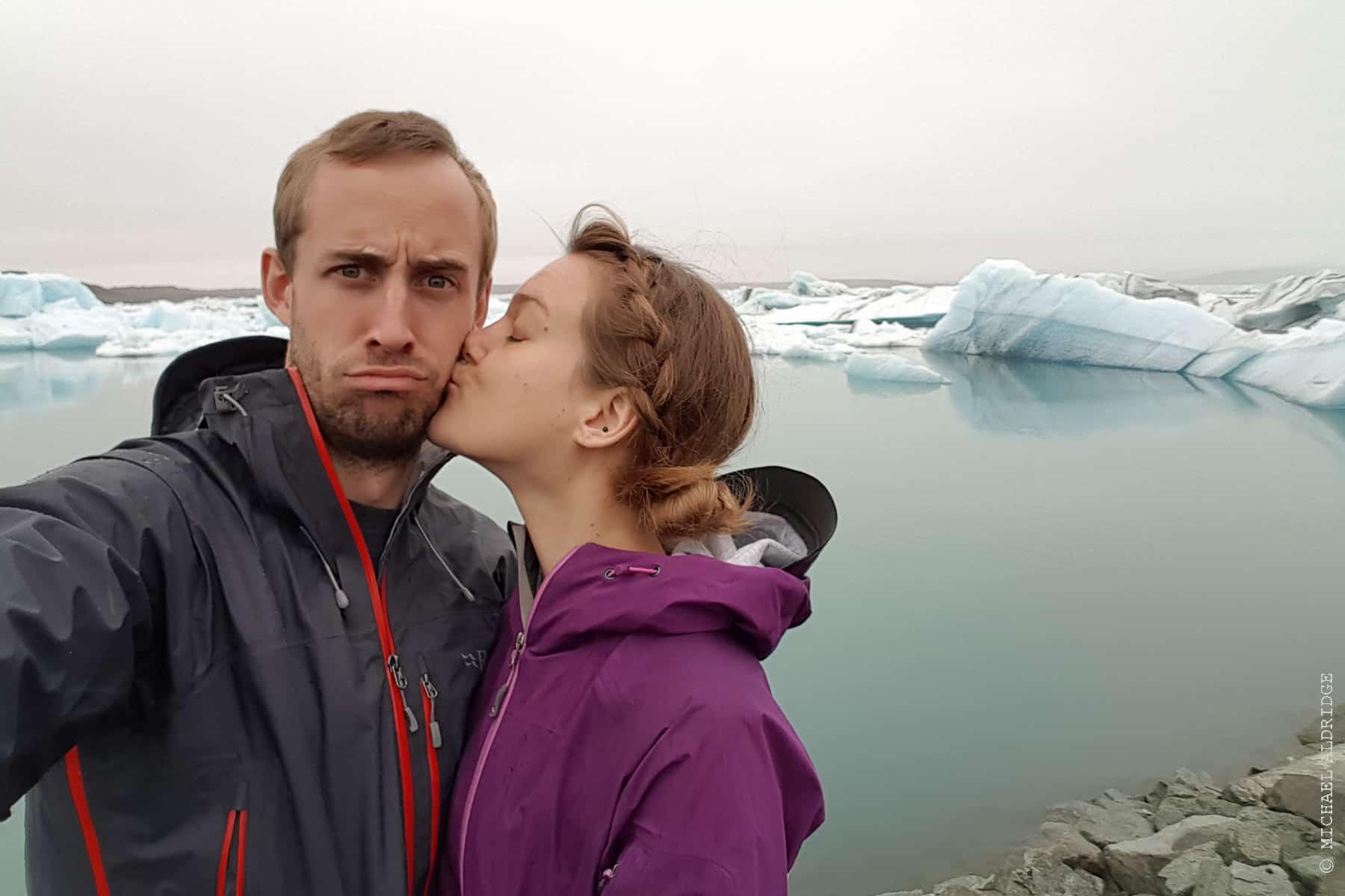 Me and Dora in Jökulsárlón Iceberg Lagoon, Iceland