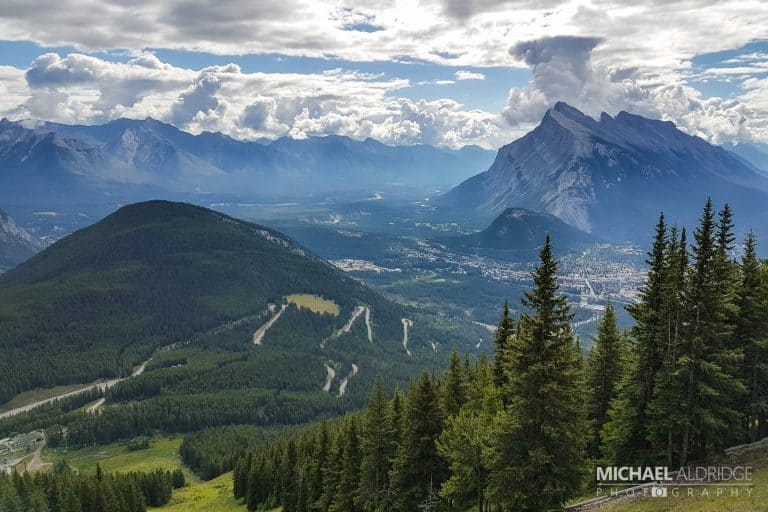 View over Banff slopes in Canada