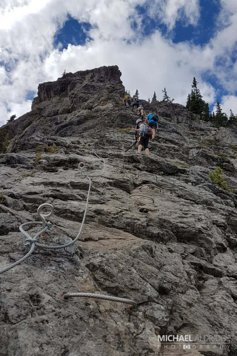 Climbing Via Ferrata route on Mt Norquay in Banff, Canada