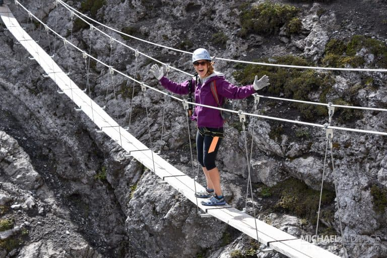 Wobbly bridge on Mt Norquay in Banff