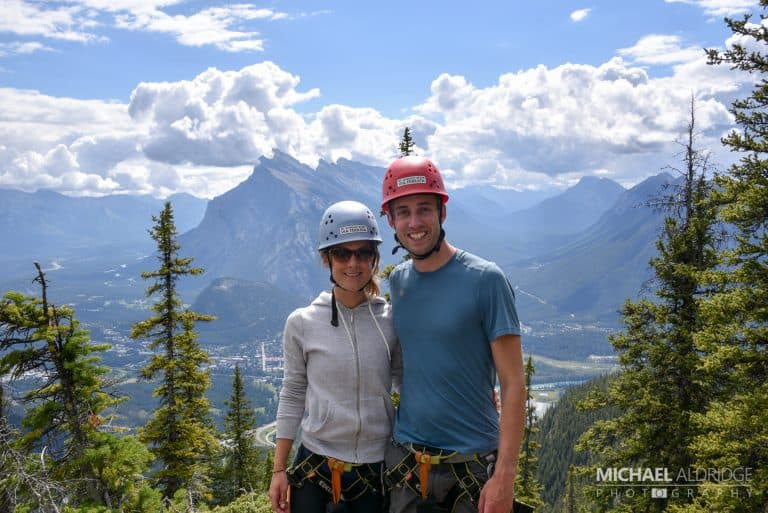 Michael & Dora doing some Via Ferrata on Mt Norquay