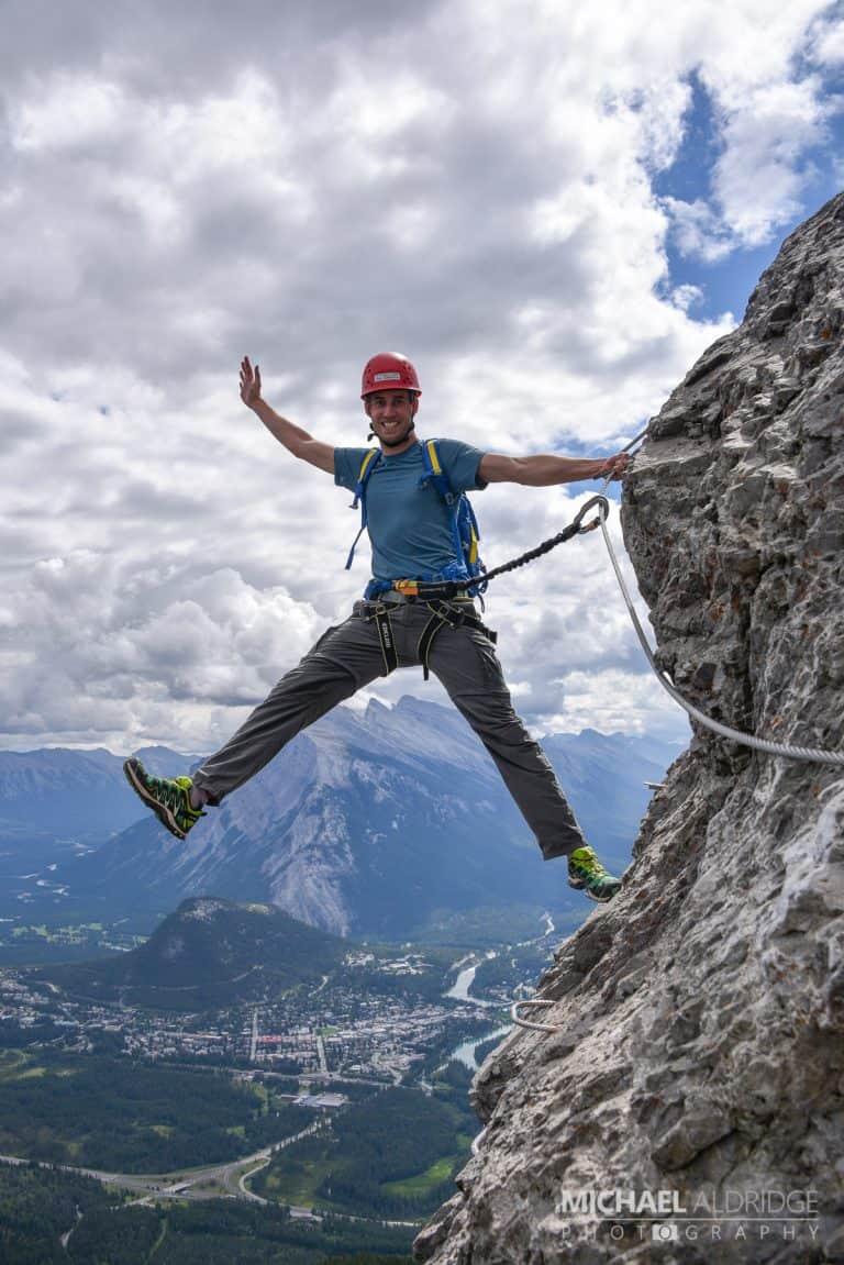 Michael holding on tight as we climb Mt Norquay