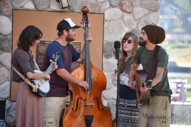 The MetroKnomes band performing in Sun Peaks Resort. BC