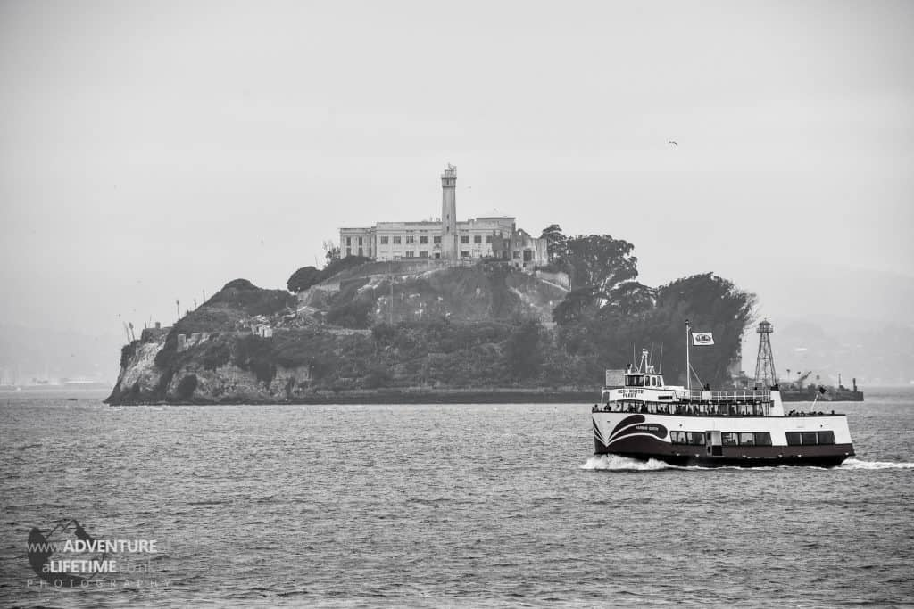 Alcatraz Island, black and white