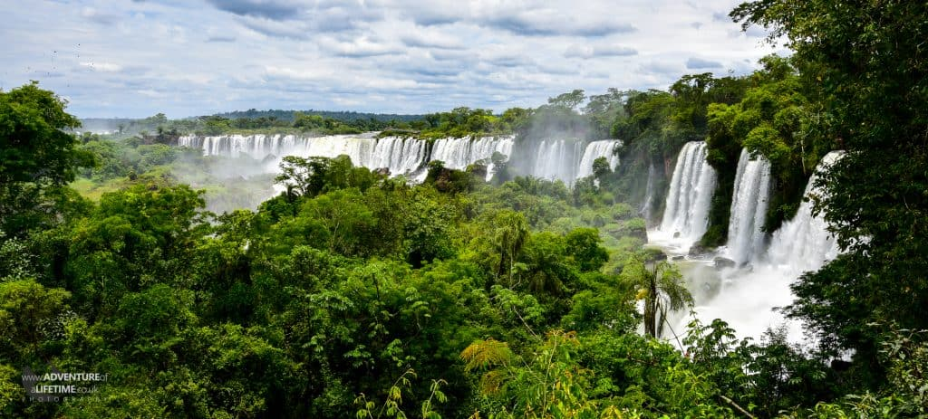 Argentinean Panoramic of Iguassu Falls through the Jungle.