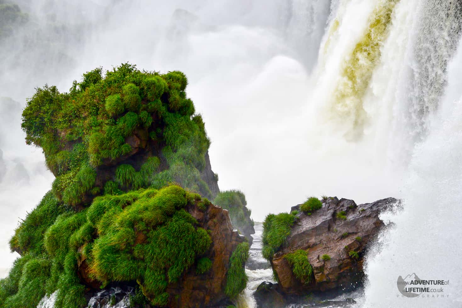 Island surrounded by the raging waters of Iguassu Falls