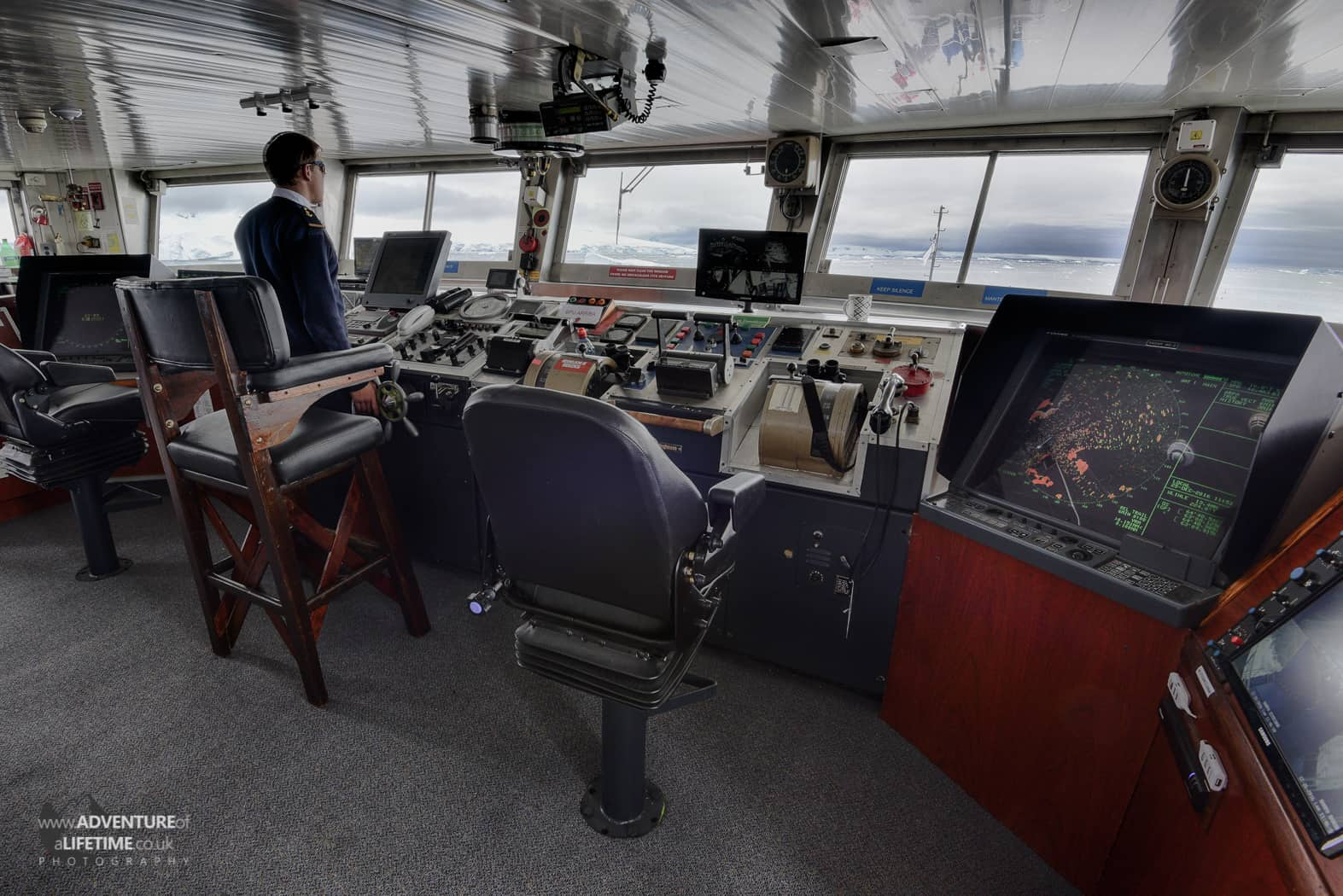 Captains Bridge on the Ushuaia Ship