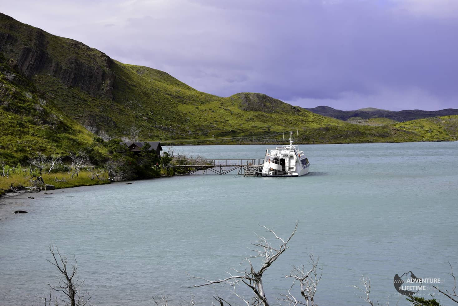 Catermaran on Pehoe Lake in Torres Del Paine