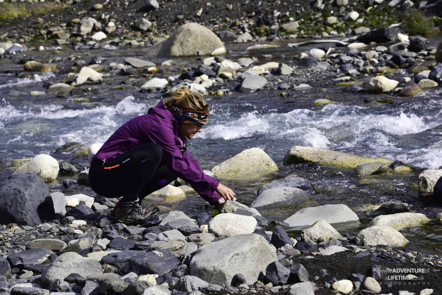 Collecting water from glacial rivers