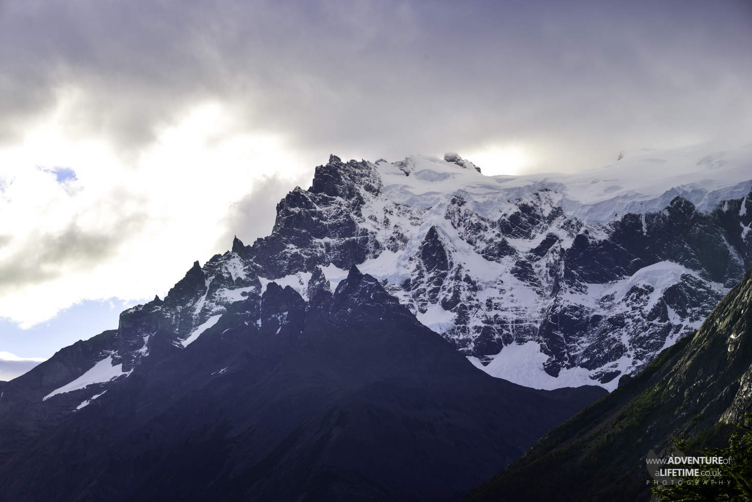 Dusk over Snowcapped Mountains in Torres del Paine