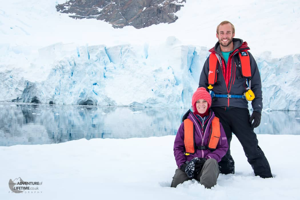 Michael & Dora Aldridge in Andvord Bay, Antarctica