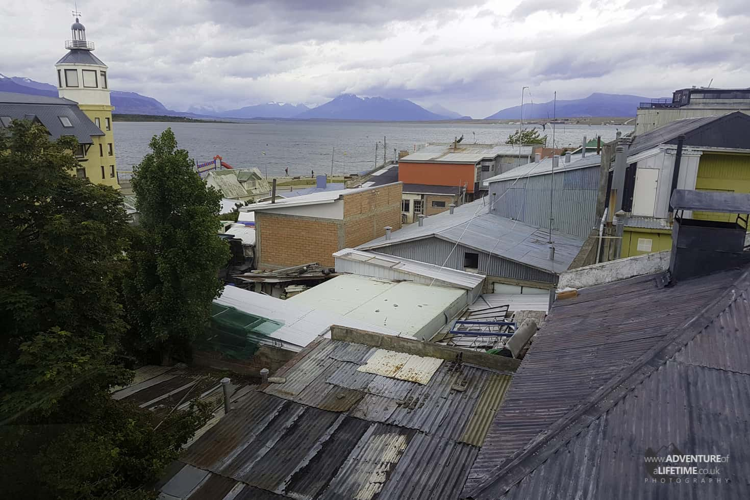 Puerto Natales tin roofs, lakes and mountains