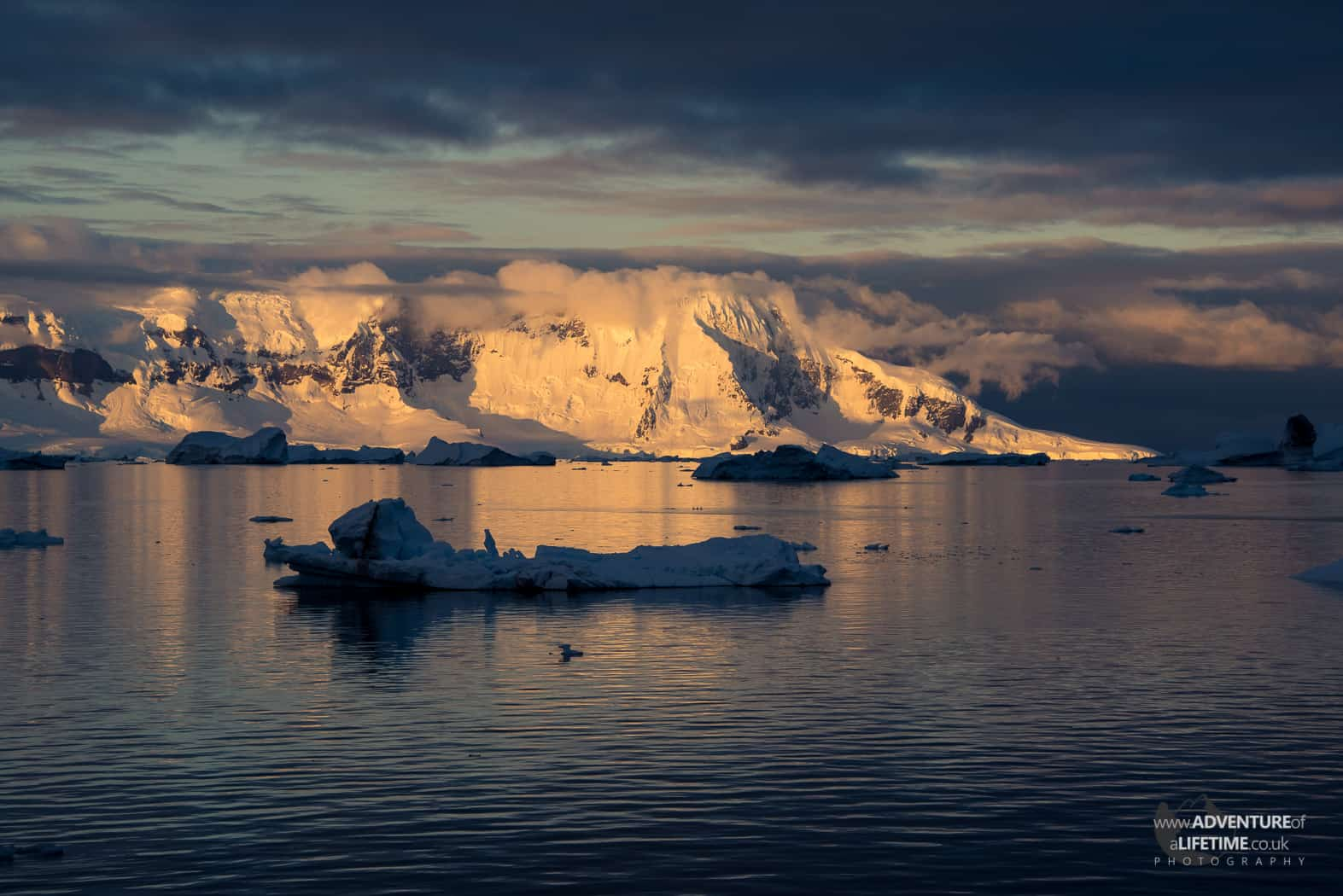 Sunset over Mountains in Antarctica
