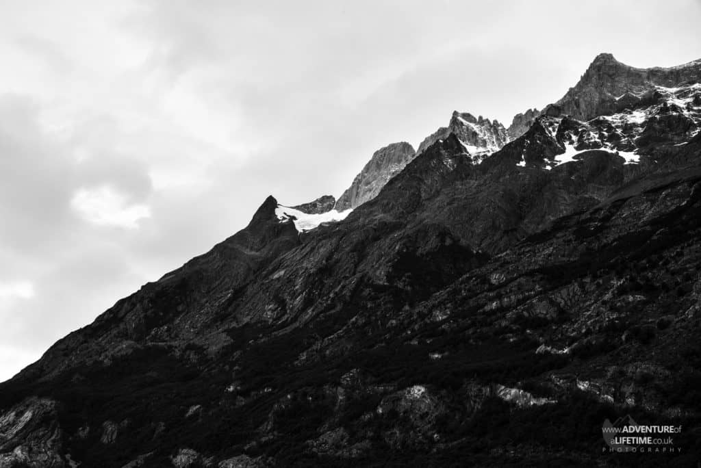 Black & White Snow Capped Mountains in Torres del Paine