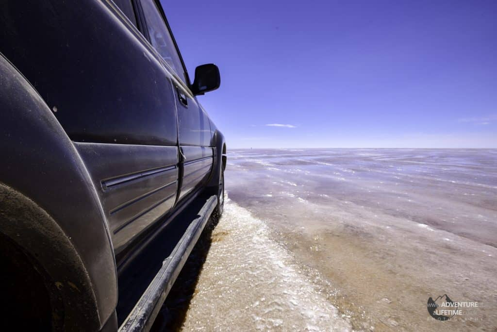Driving the Salt Flats in the Wet Season