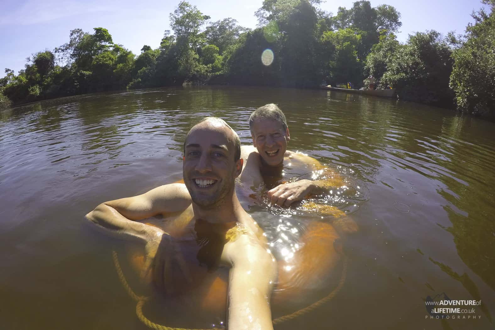 Michael and Malcolm River Swimming