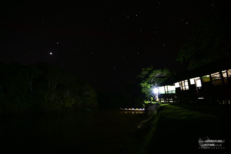 Rainforest Lodge at Night