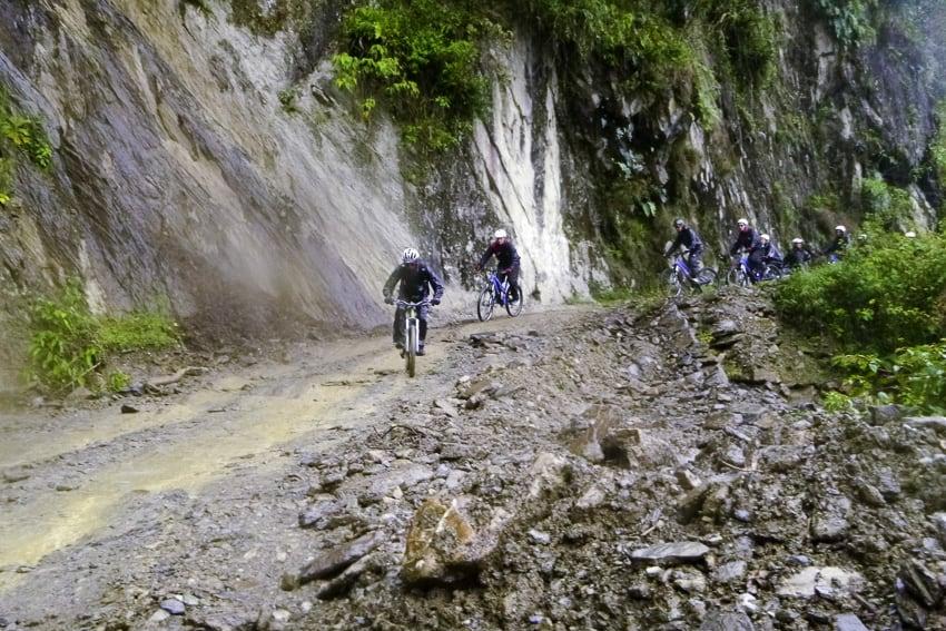 Riding through a mudslide