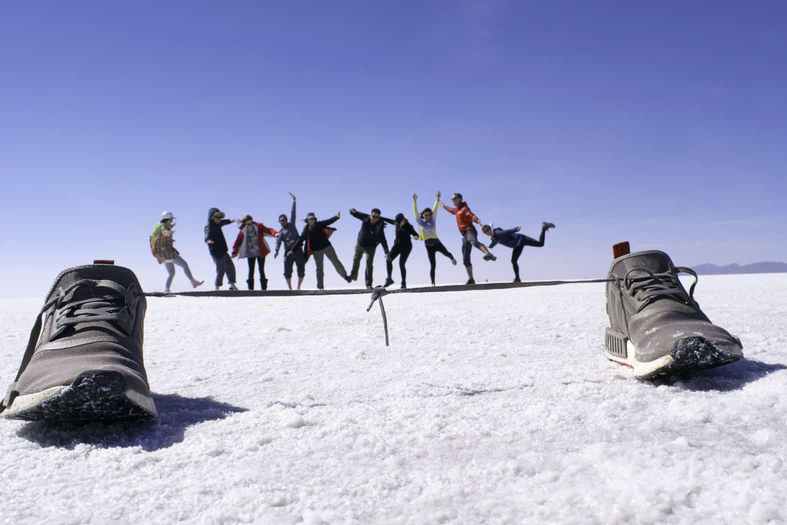 Tightrope on Bolivian Salt Flats