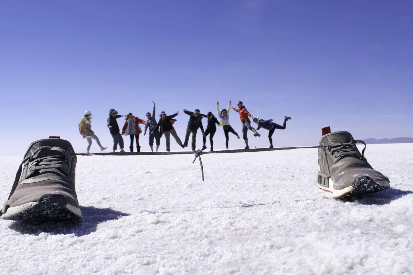 Tightrope on Bolivian Salt Flats
