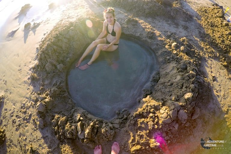 Natural Volcanic Hot Pool on the Beach