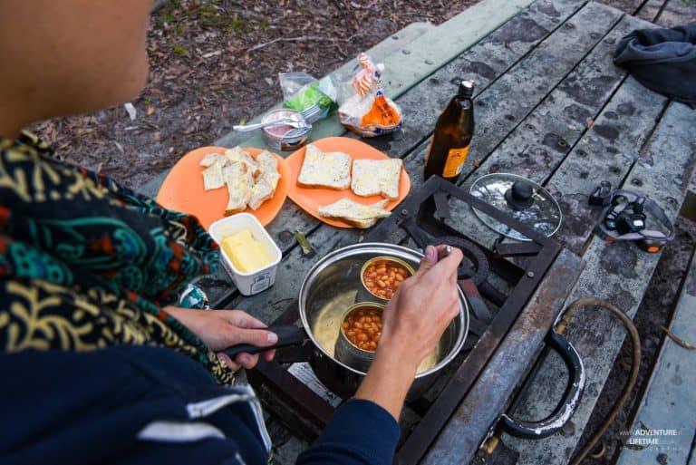 An early dinner on Fraser Island