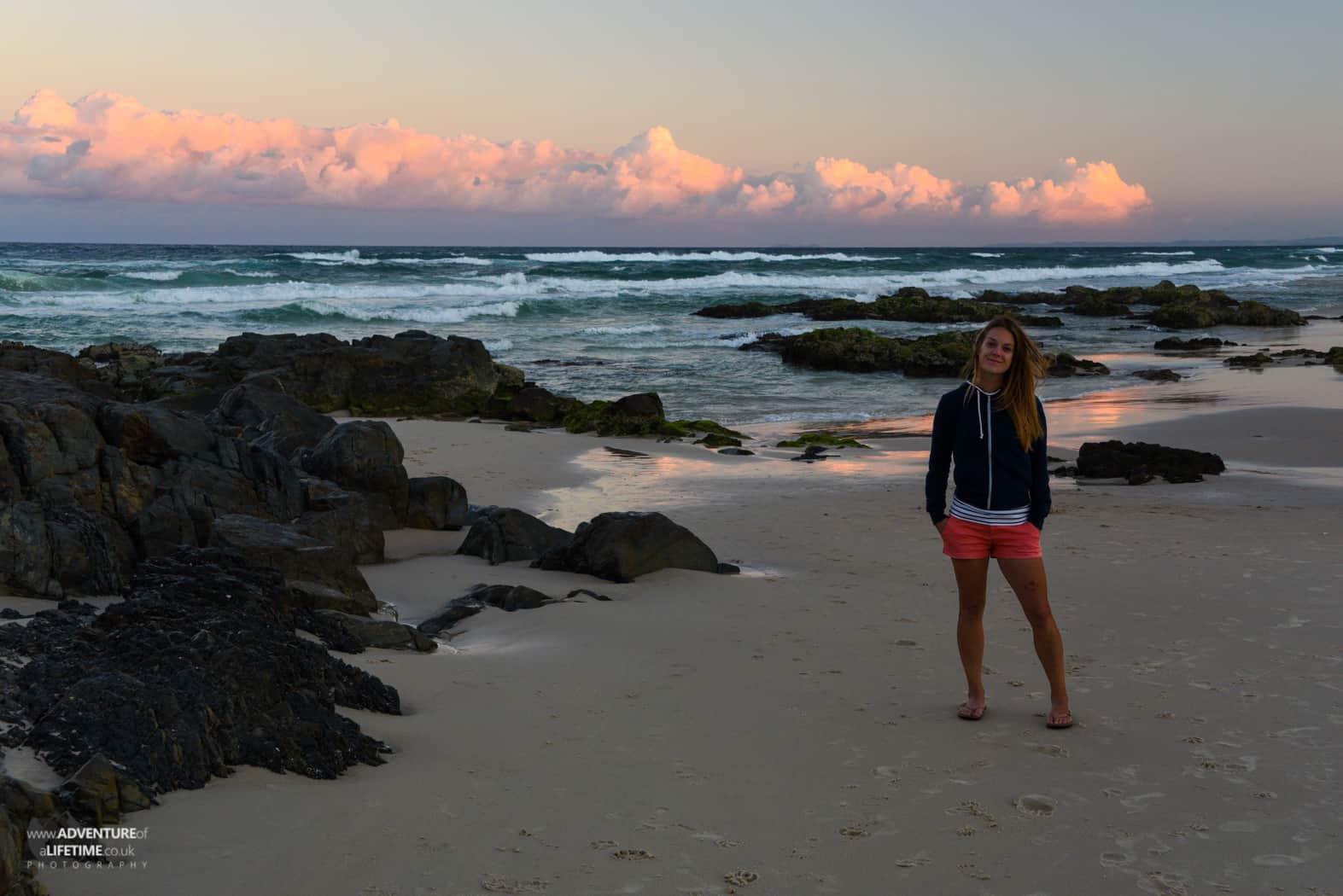 Dora at a Surfers Paradise sunset