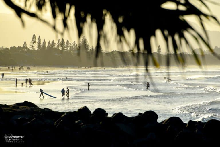 Surfers at Byron Bay