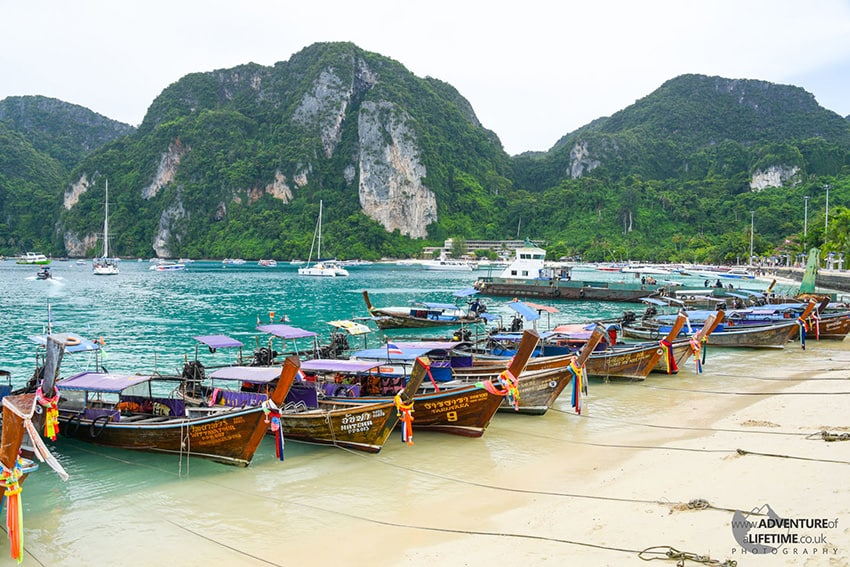 Boats Line Up at Koh Phi Phi