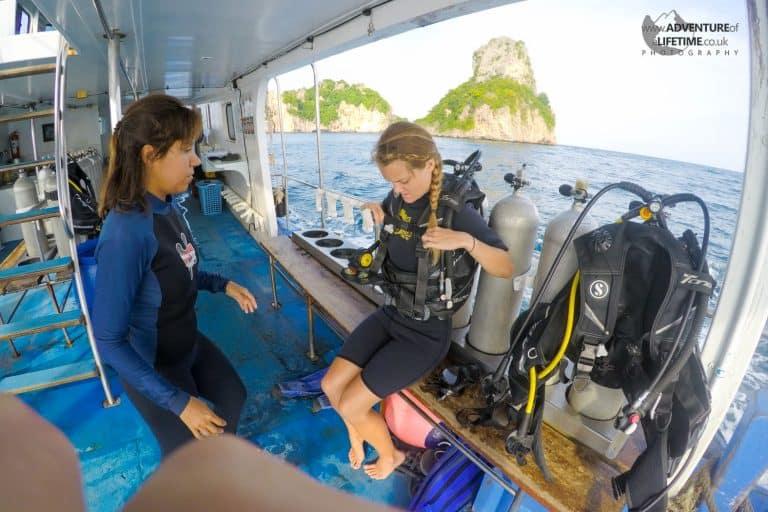 Dora gearing up to dive, Koh Phi Phi
