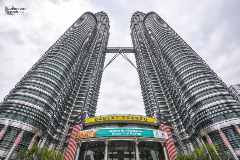 A view of the Petronas Towers from the bottom