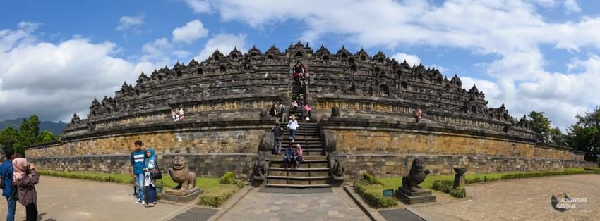 A panoramic shot of Borobudur temple, Java