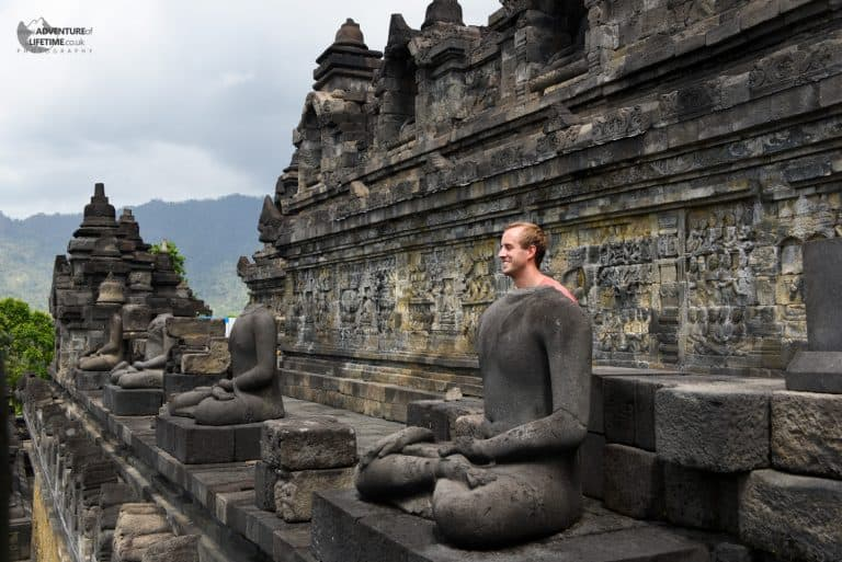 a clever shot of Michael at Borobudur temple, Java