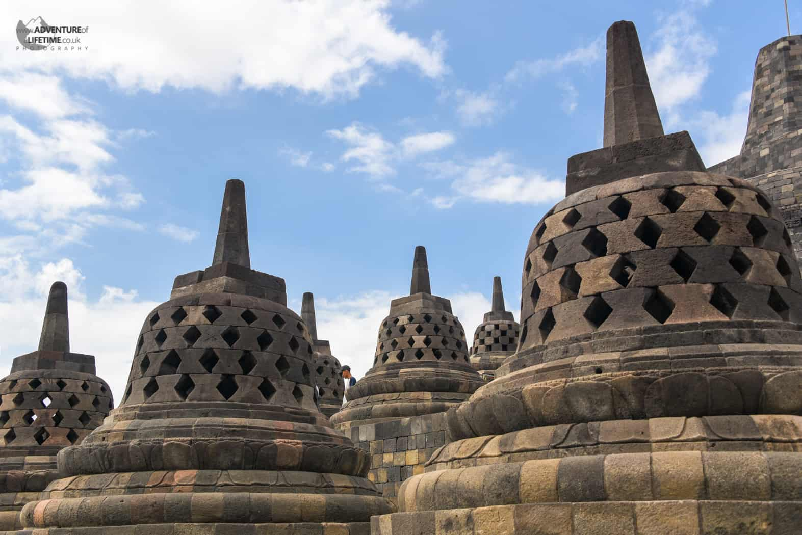 A close up shot of the stupas at Borobudur temple, Java