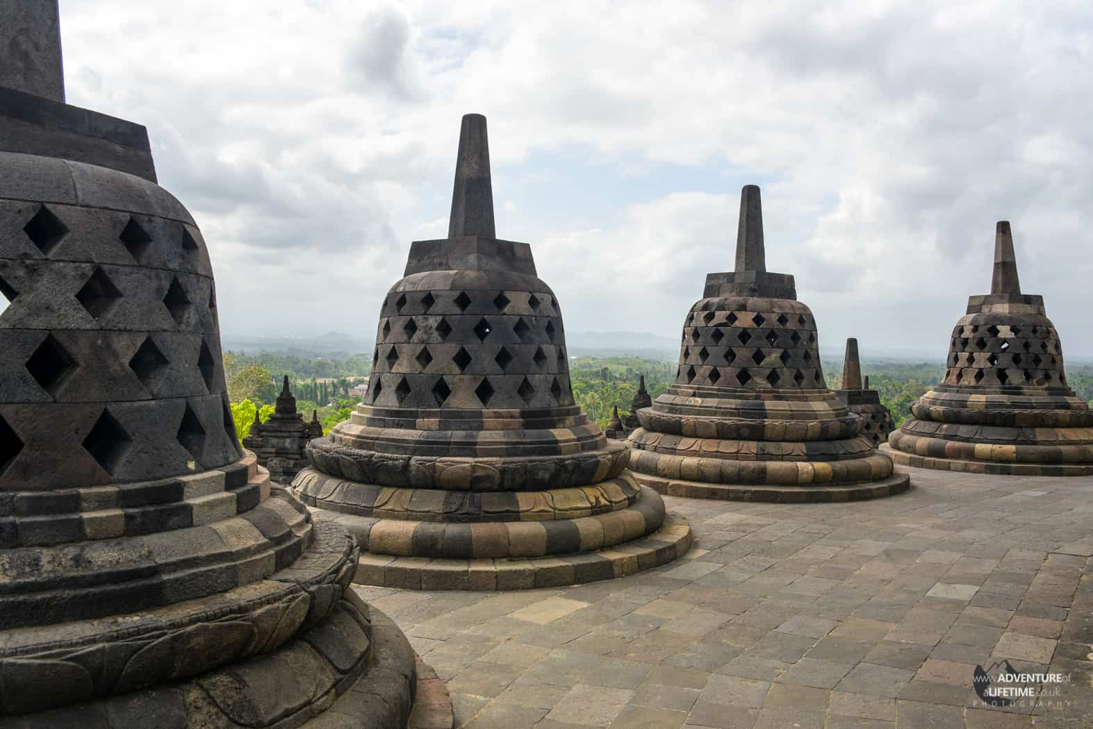 The stupas of Borobudur temple, Java