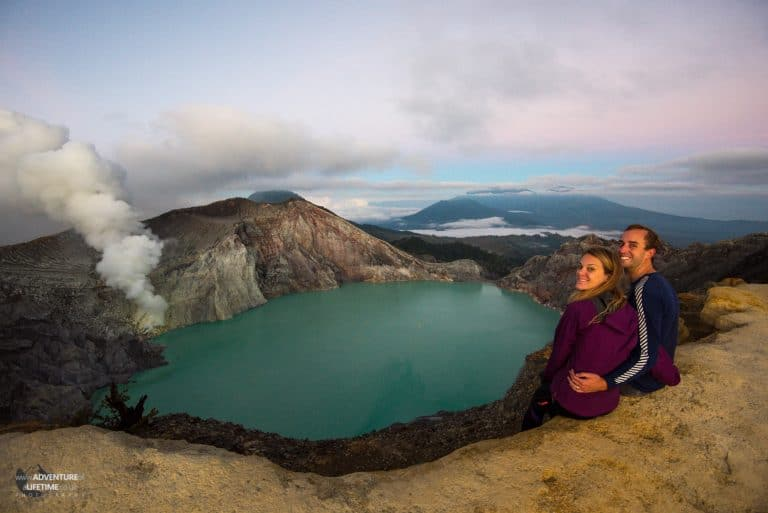 Dora & Michael at the crater of Ijen volcano