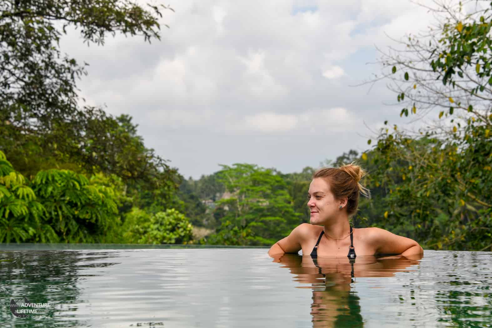 Dora relaxing in the infinity pool in Ubud