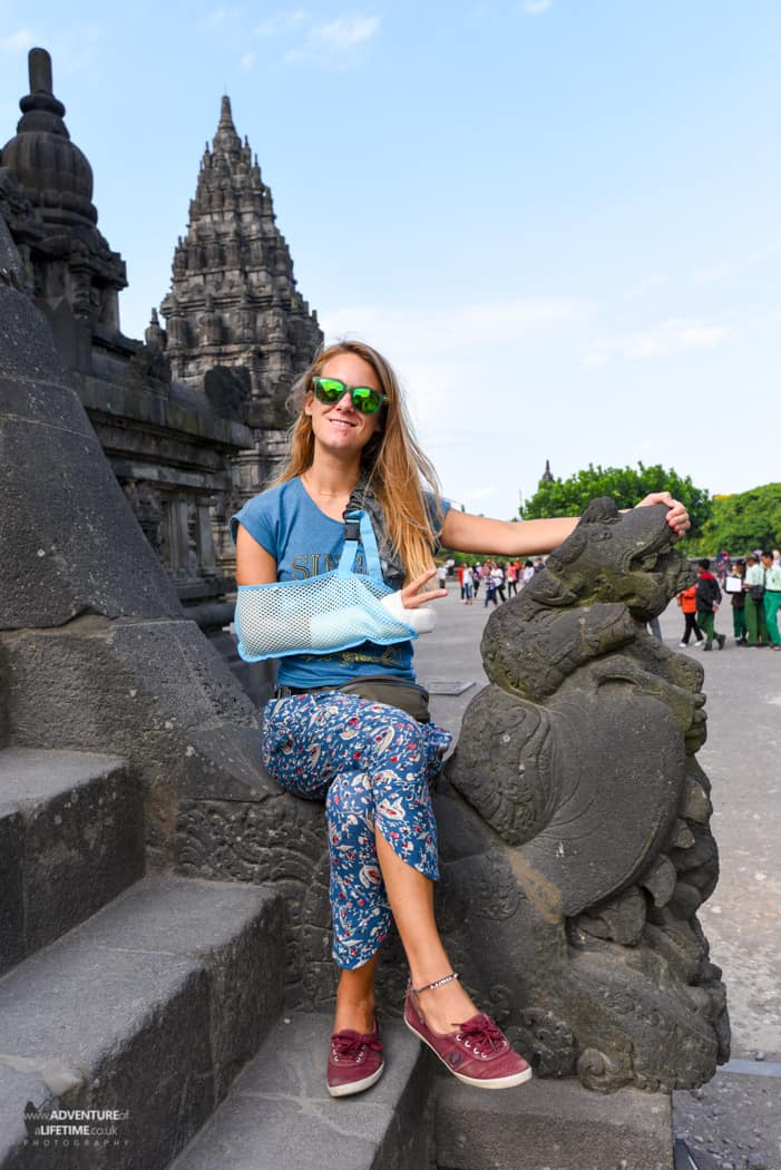 Dora rocking her splint at Prambanan temple, Java