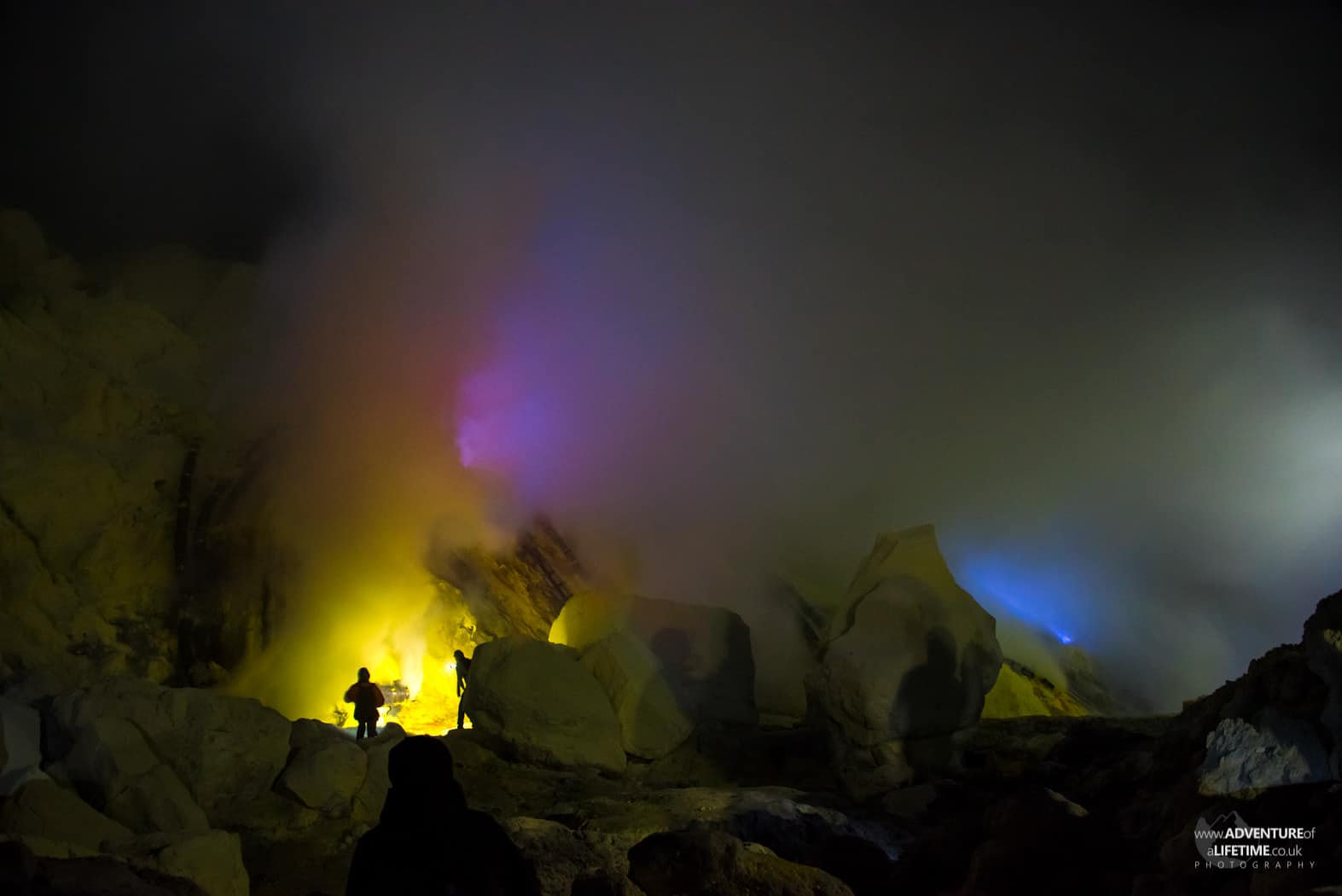Flames from the sulphur mine on Ijen volcano