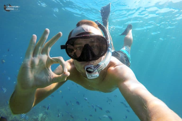 Everything is A-OK when Michael goes snorkelling