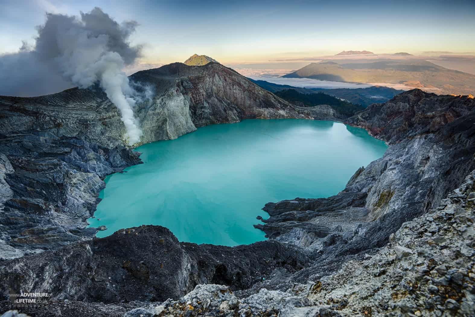 Incredible Ijen volcano and blue crater lake